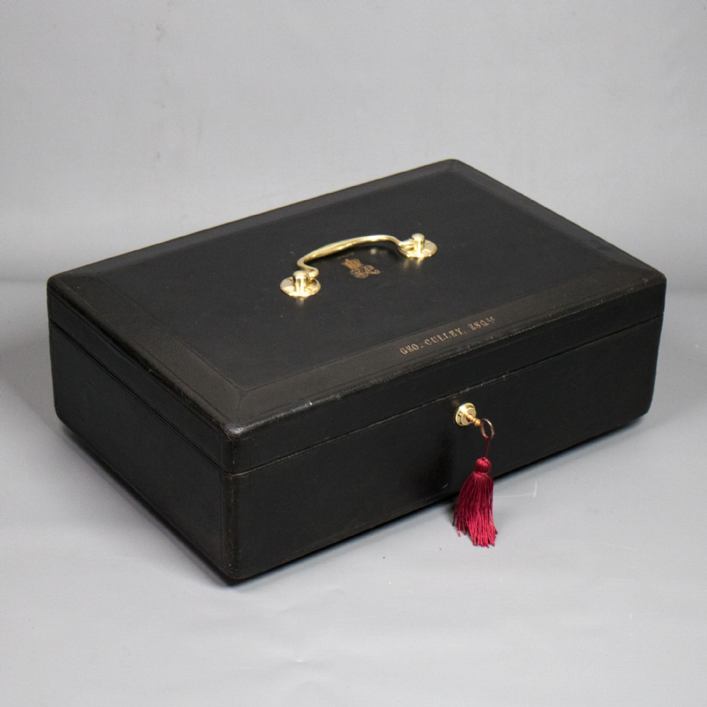 a victorian black morocco leather covered parliamentary despatch box c1880