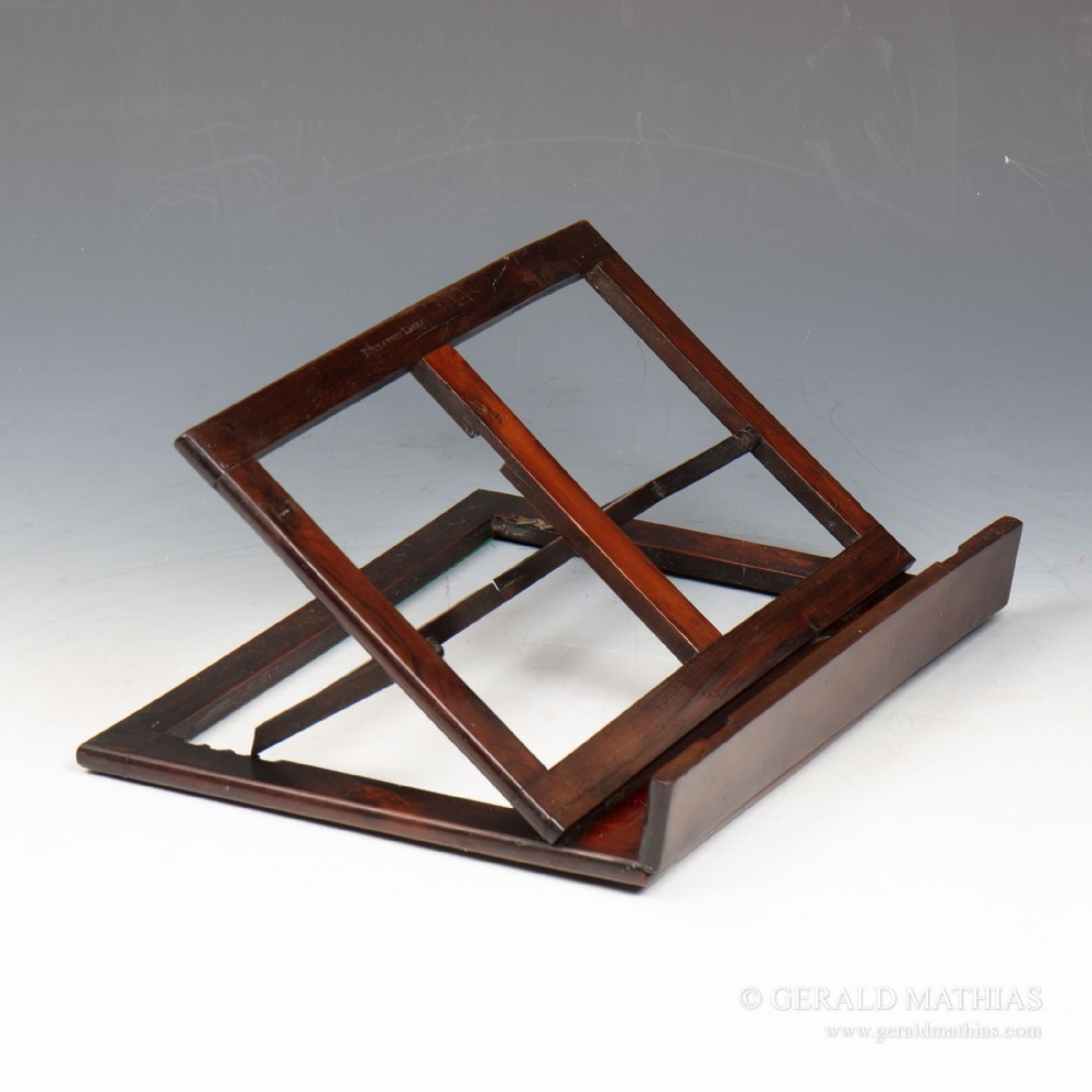 a small late 19th century rosewood table top book rest music or reading stand