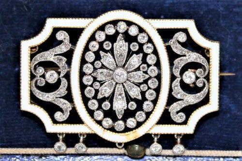 diamond and enamel brooch