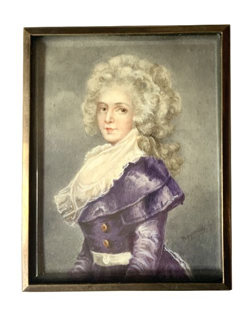 antique portrait miniature in lovely brass bevelled glass frame c1900m signed by the artist virginia reynolds