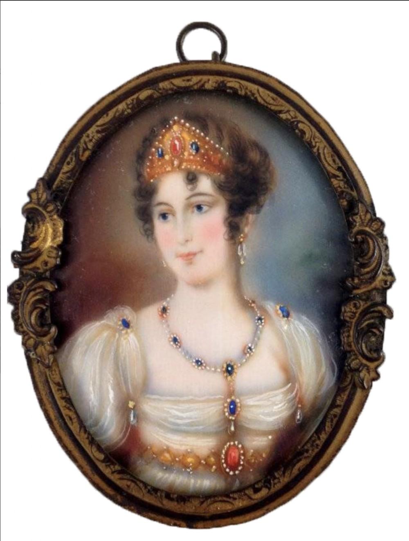 antique portrait miniature painting on ivory of napoleons empress josephine signed