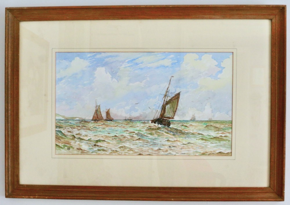 seascape off dover an attractive original painting in watercolour monogrammed by artist glazed and framed to verso is written in pen dover