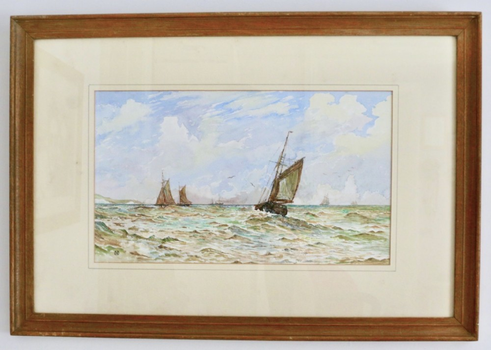 seascape off dover an attractive original painting in watercolour monogrammed by artist glazed and framed