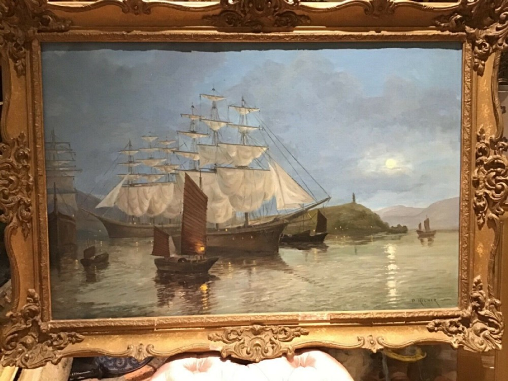 an original oil on canvas by 19th century maritime artist phillip kilner of a merchant shipclipper in a chinese harbour
