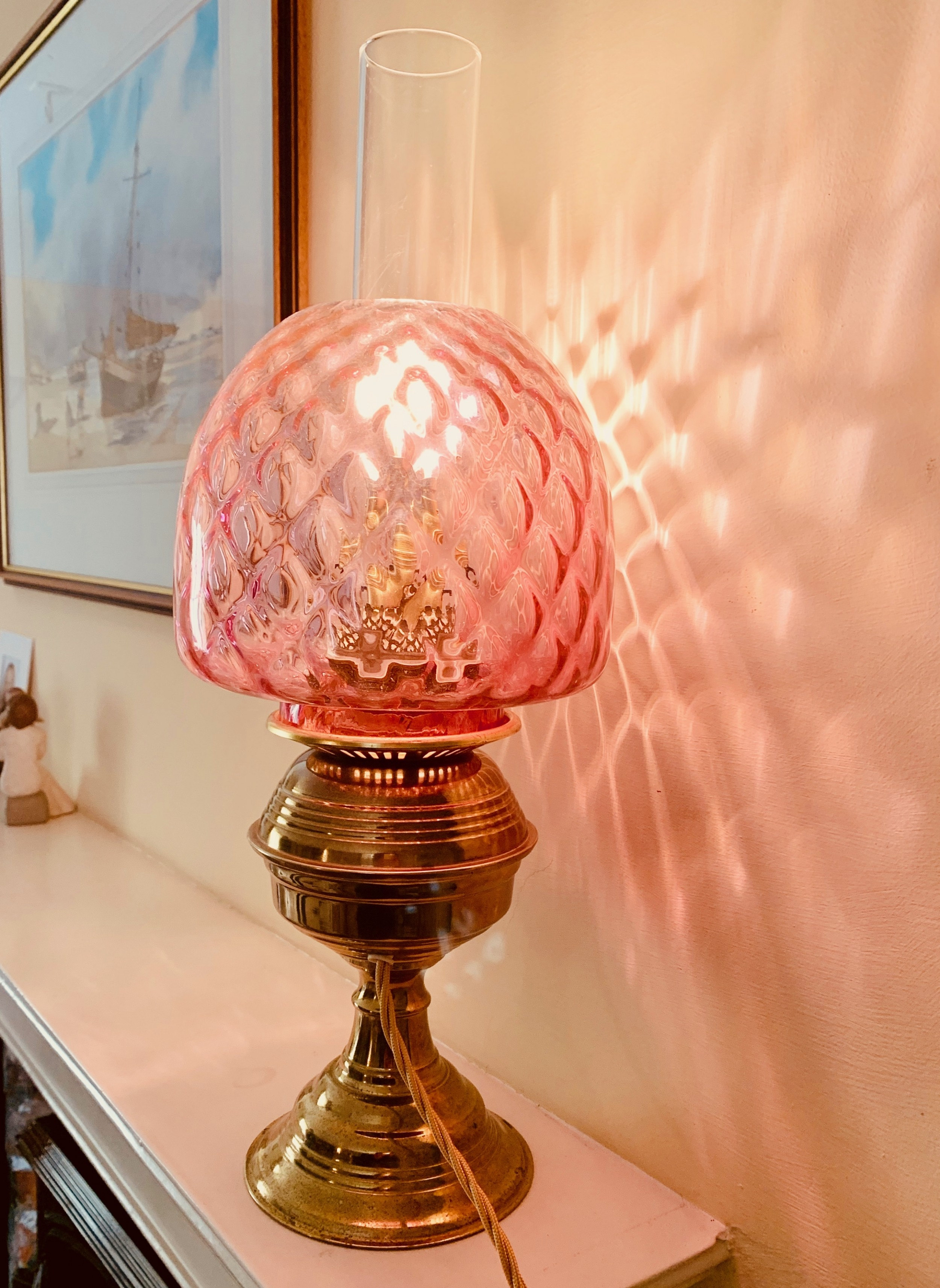 victorian large brass oil lamp with glass shade converted to electrical light