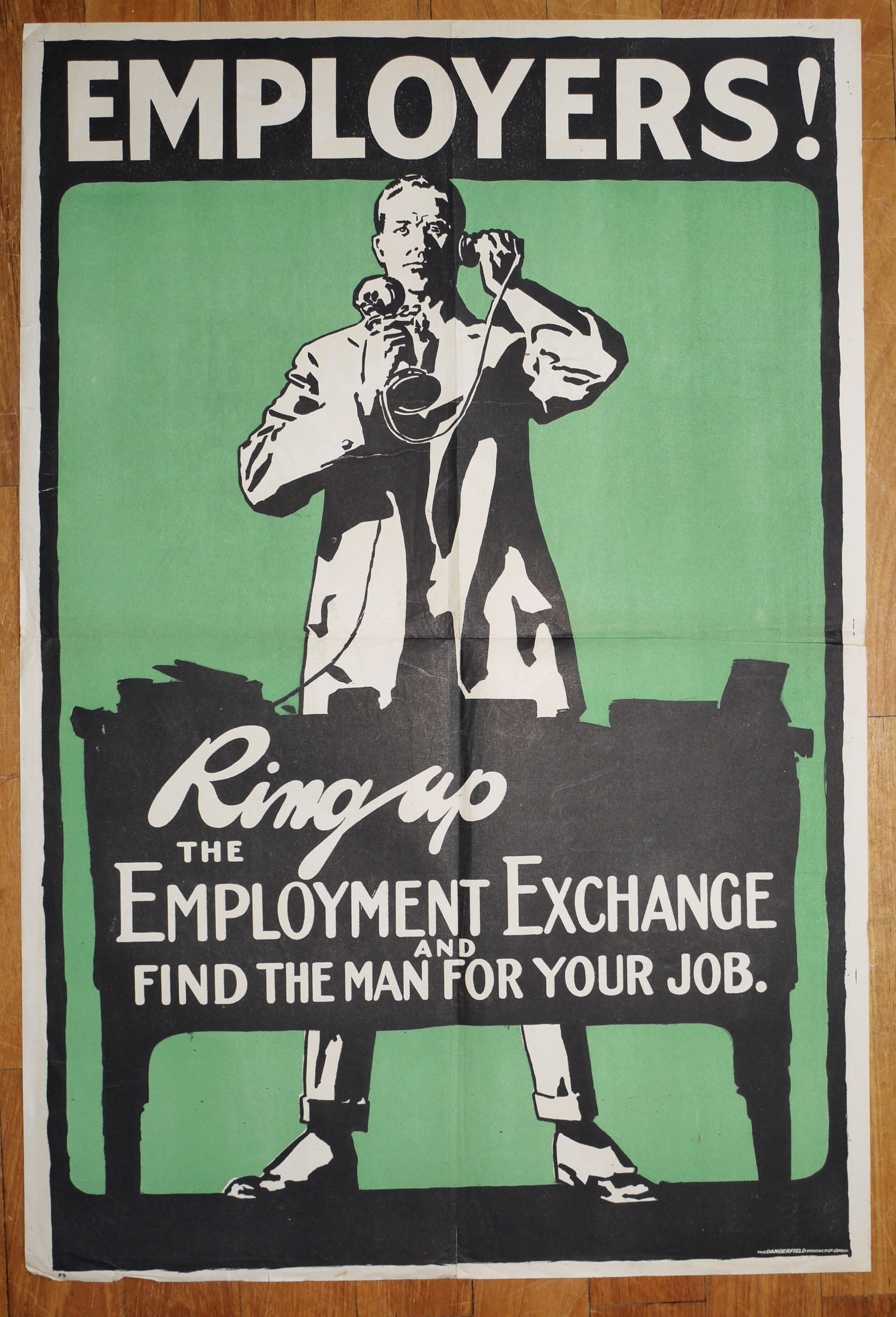 employers ring up the employment exchange find the right man for the job poster illustrated c1920