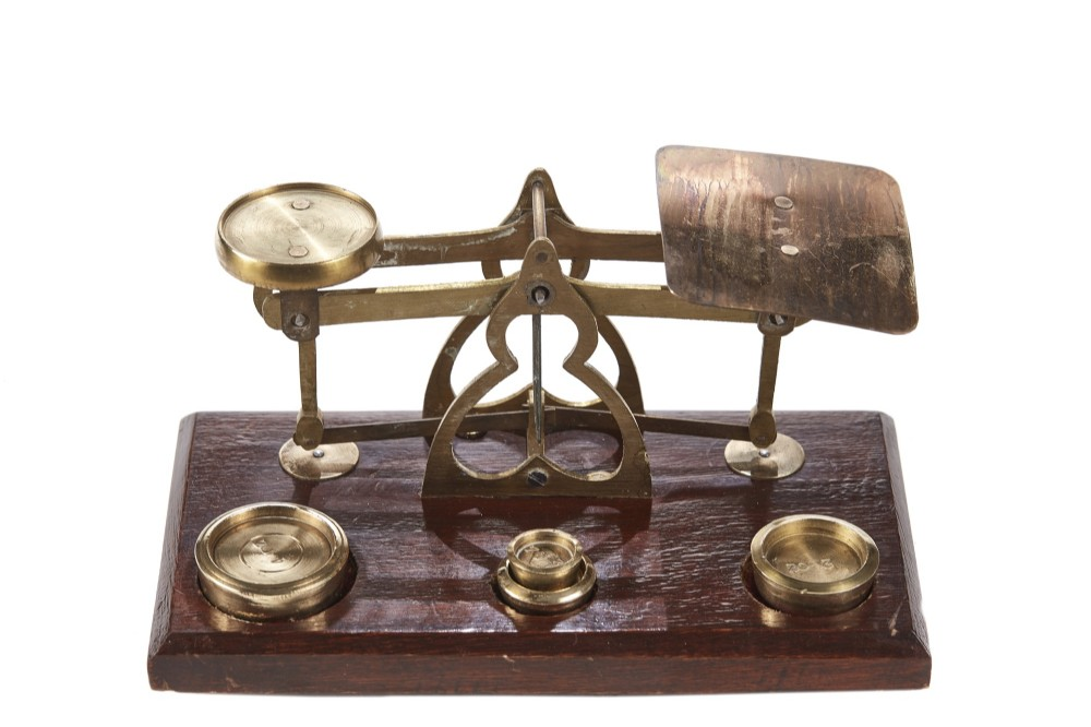 set of original victorian post office scales