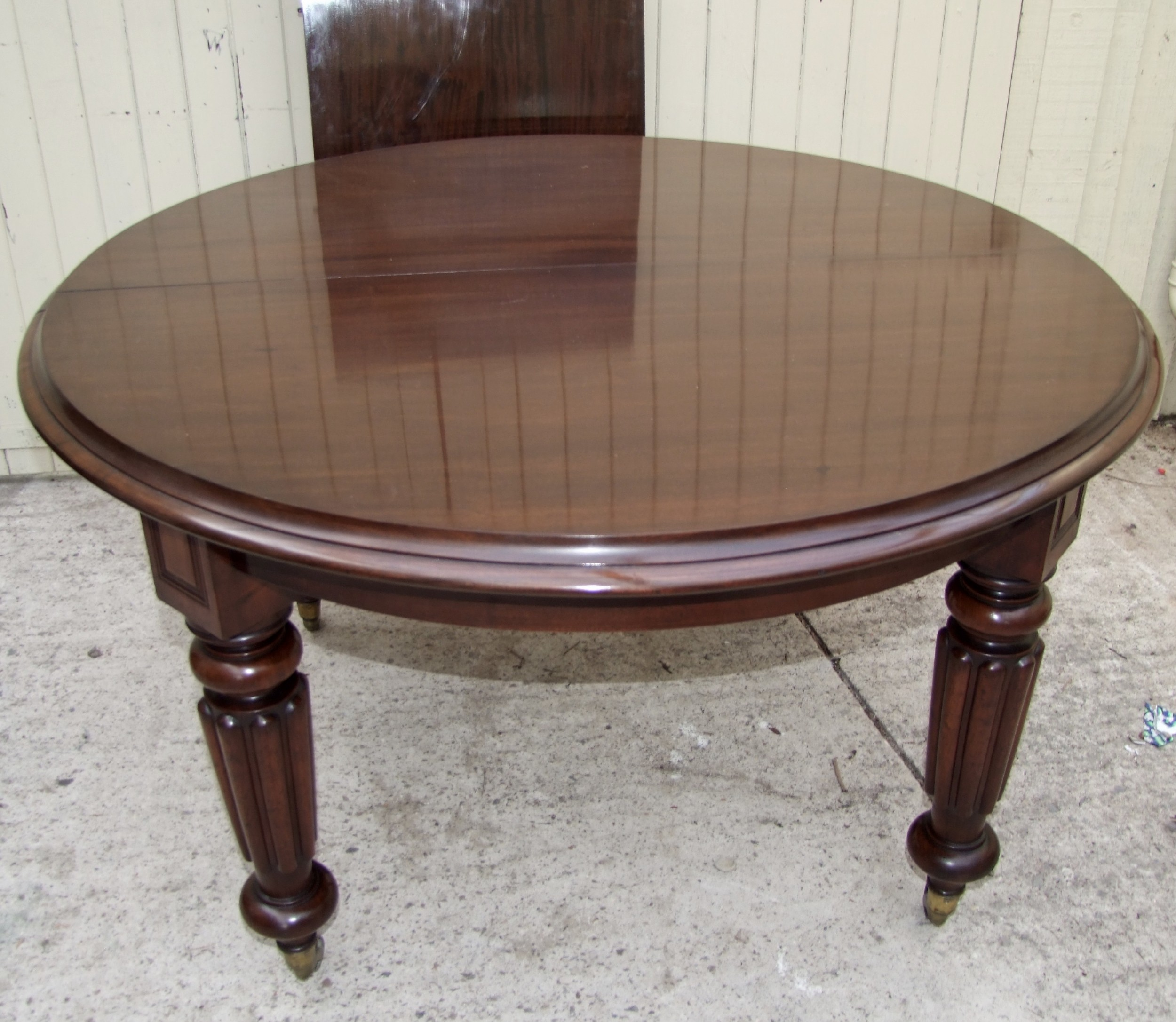 all original beautiful quality william iv circular extending table in mahogany with one leaf