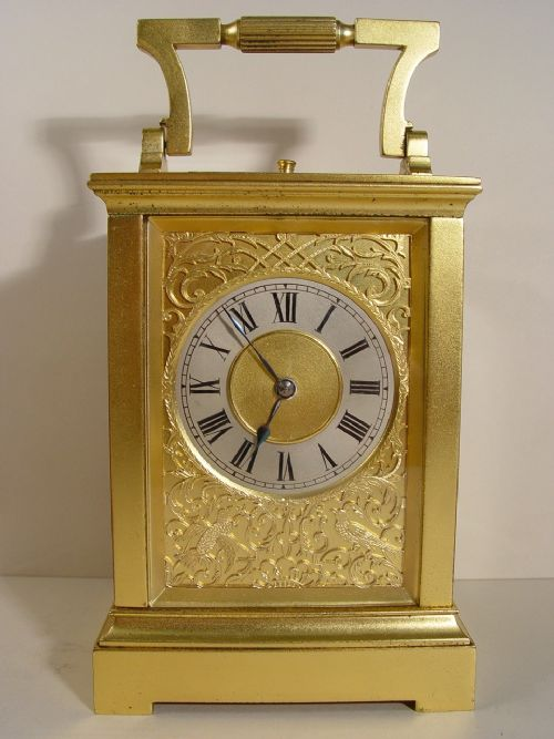 a 19th cent french gilt bronze anglaise cased repeating carriage clock with carrying case and key