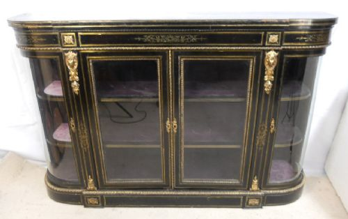 victorian ebonized brass inlay four door side cabinet