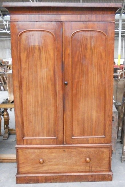 victorian mahogany two door fitted wardrobe