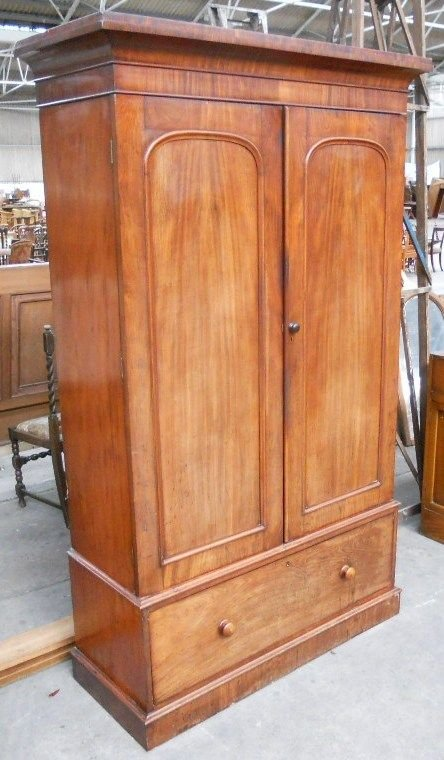 victorian mahogany two door fitted wardrobe - photo angle #2