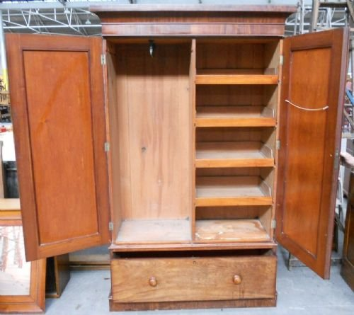 victorian mahogany two door fitted wardrobe - photo angle #3