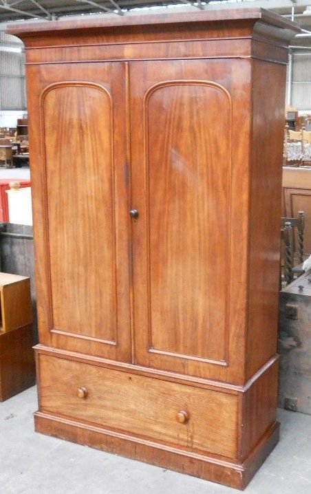 victorian mahogany two door fitted wardrobe - photo angle #4