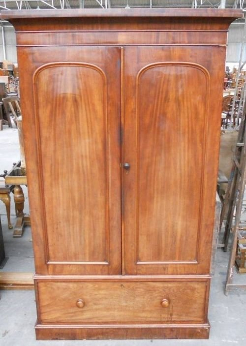 victorian mahogany two door fitted wardrobe - photo angle #5