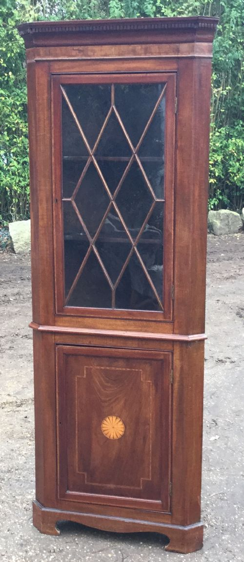 edwardian inlaid mahogany standing corner cupboard