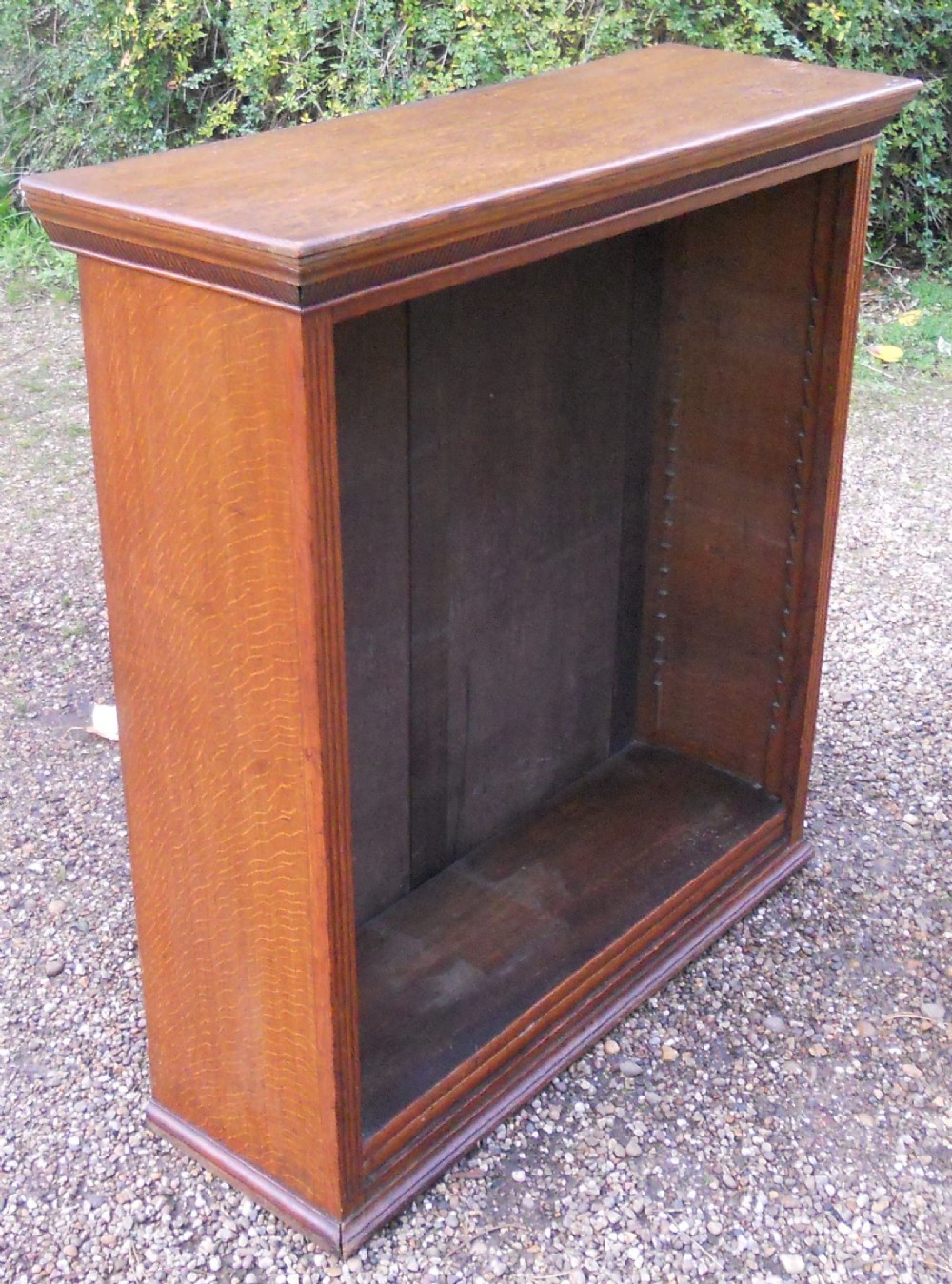 edwardian small oak open bookcase