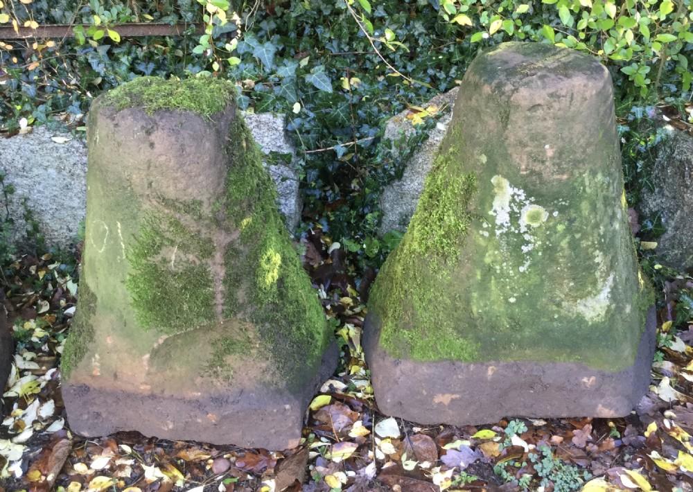 pair antique garden sandstone stands