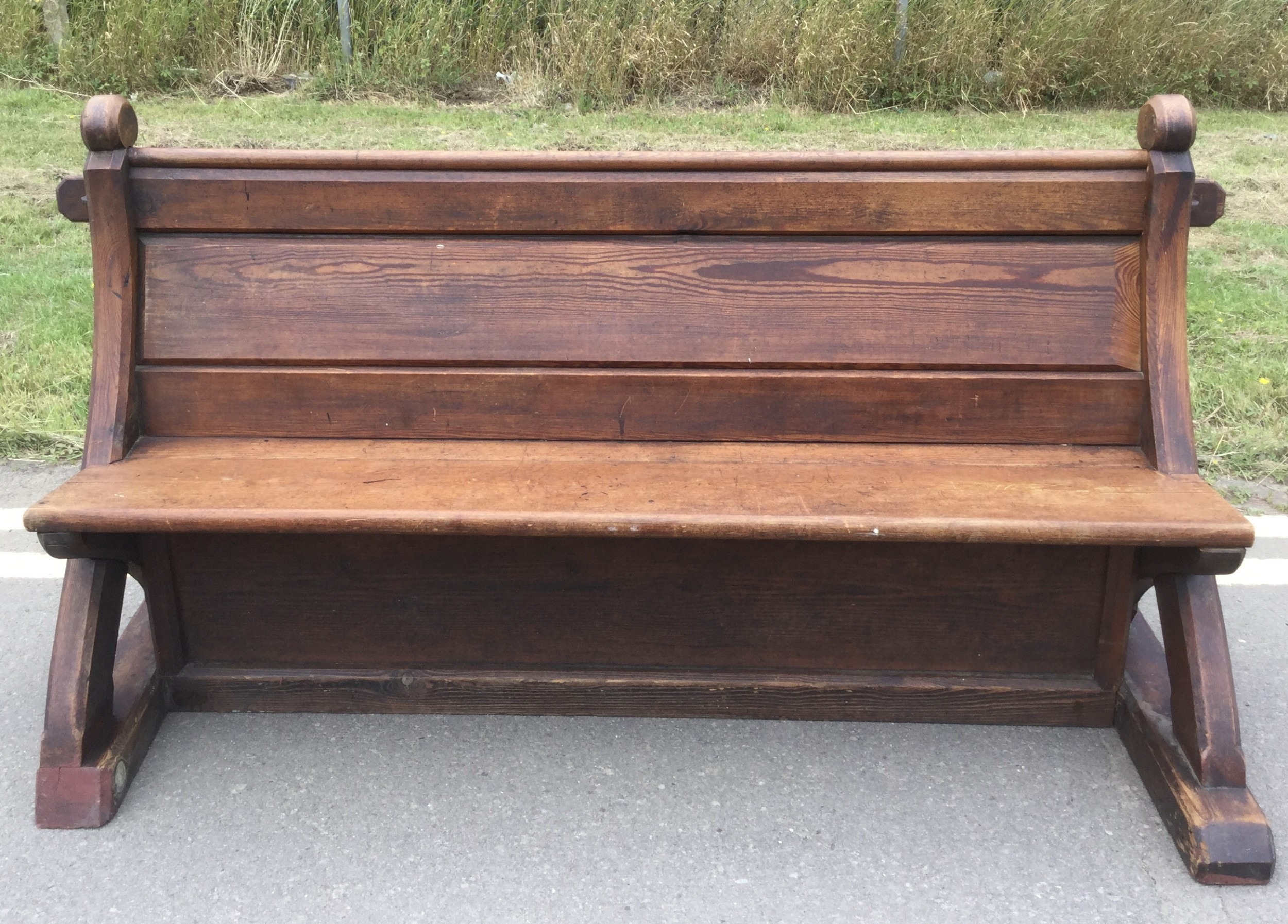 victorian pitch pine gothic church bench