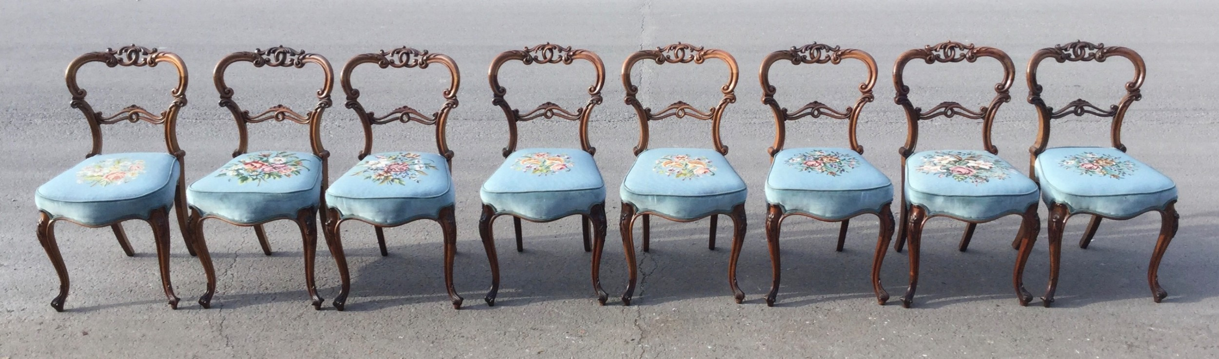set of eight victorian carved walnut dining chairs