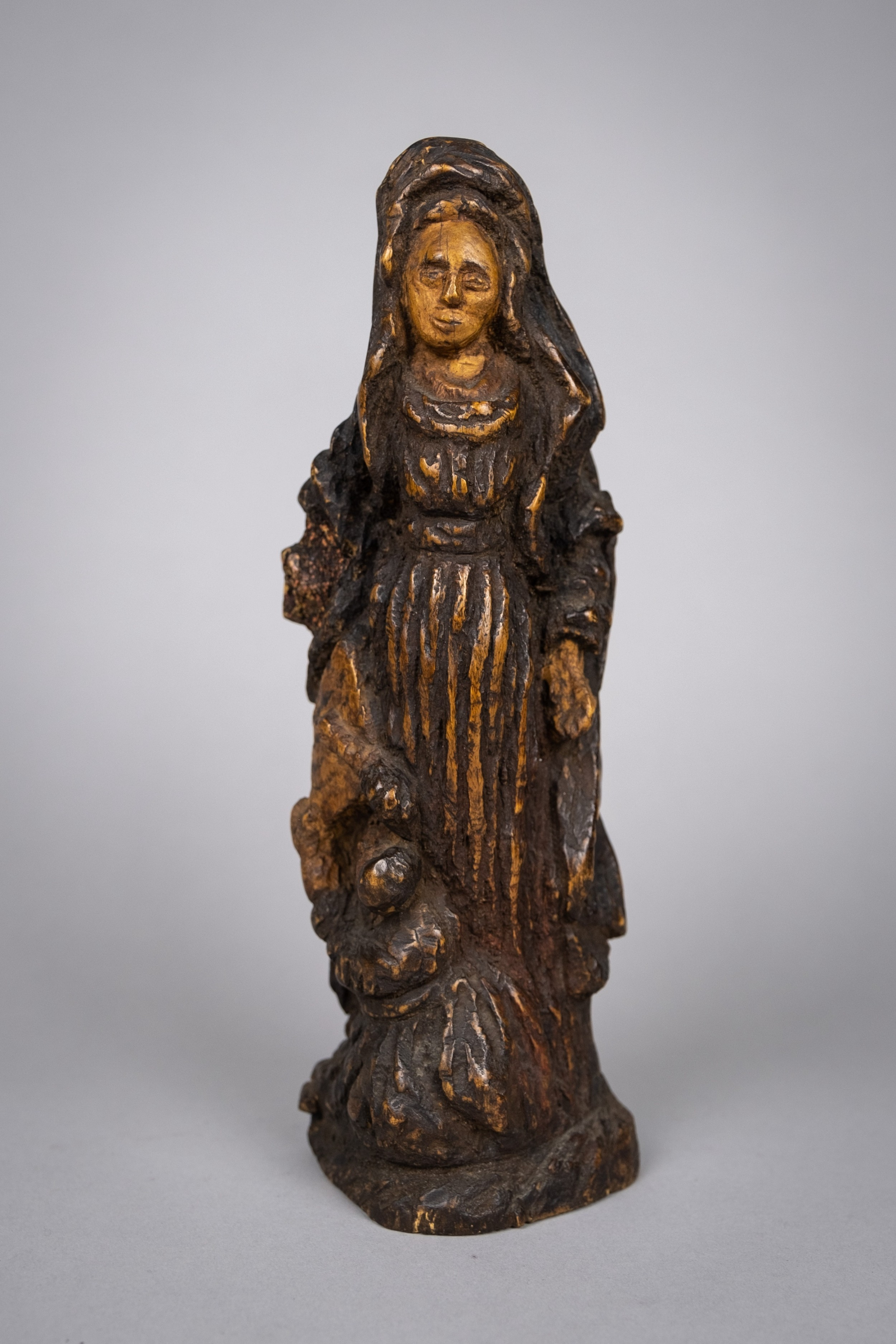 18th century italian carved wood madonna religious icon figure