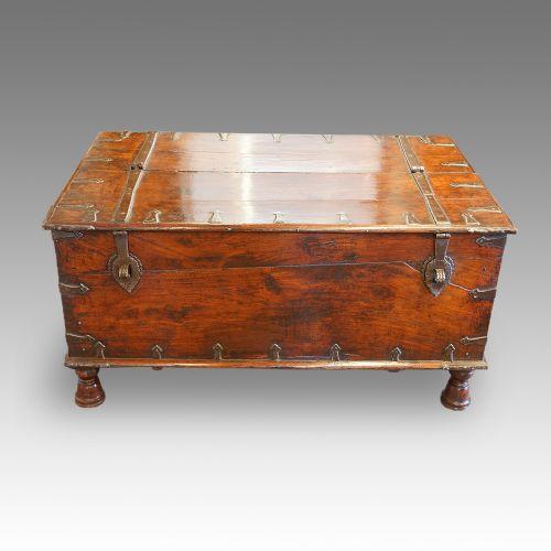 antique colonial hardwood merchants chest