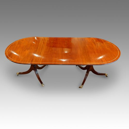 mahogany twin pillar dining table 1930s