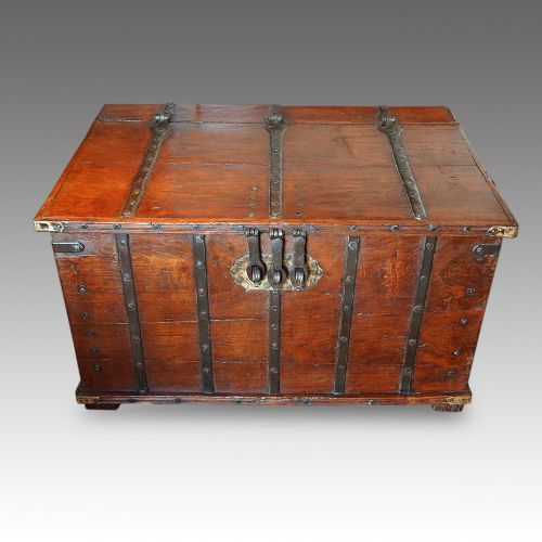antique iron bound merchants chest