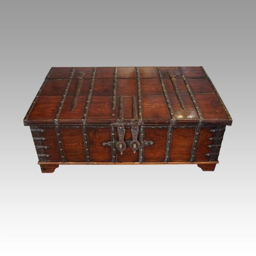 colonial teak iron bound merchant chest