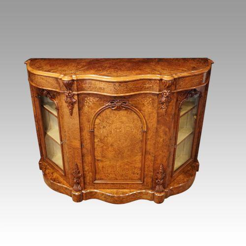victorian inlaid walnut side cabinet