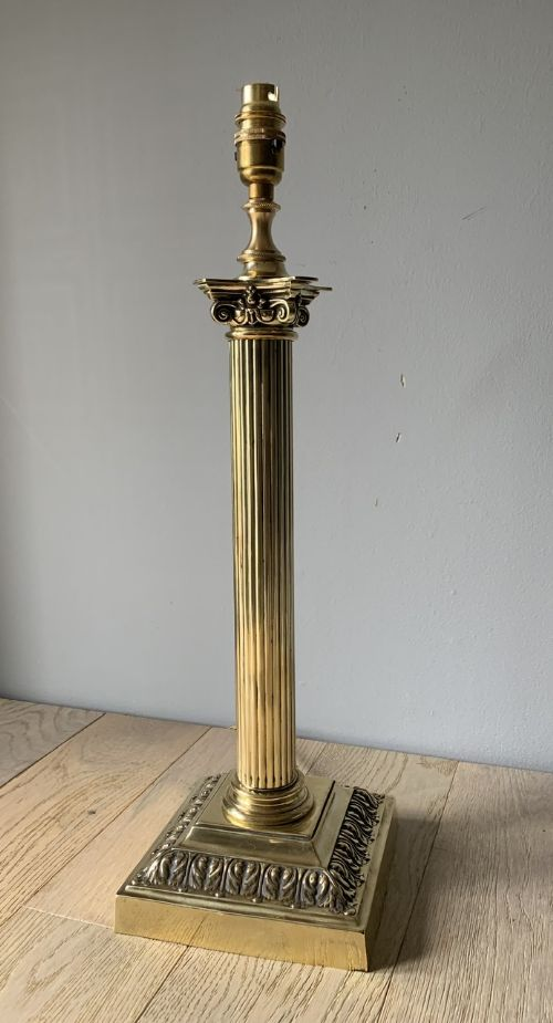 large victorian brass corinthian column table rewired and pat tested lamp