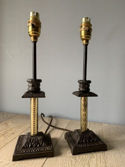 near pair of victorian table lamps converted candlesticks rewired and pat tested