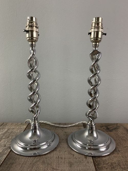 pair of 1930s chrome twist table lamps rewired and pat tested