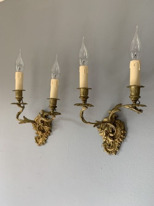 pair of french ornate gilt wall lights rewired
