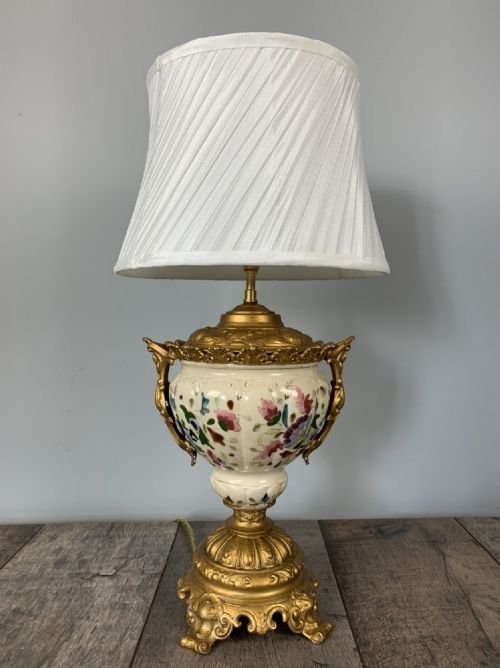 victorian gilded spelter and ceramic table lamp rewired and pat tested shade included
