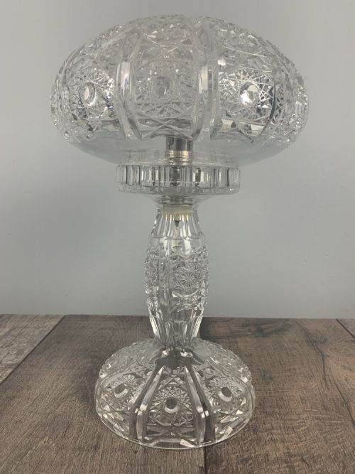 cut glass crystal mushroom table lamp rewired and pat tested
