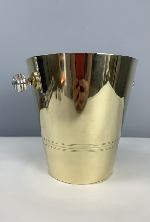 french art deco brass and silver plated ice champagne bucket