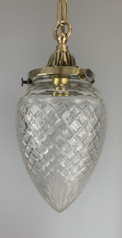 c1910 cut glass pendant ceiling light original shade rewired