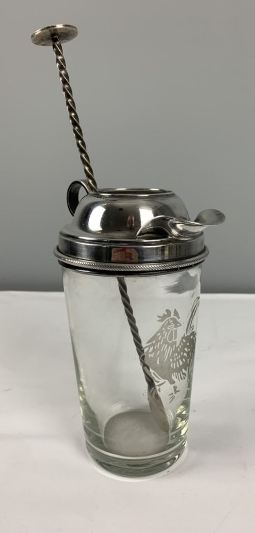 art deco silver plated cocktail shaker with stirring spoon