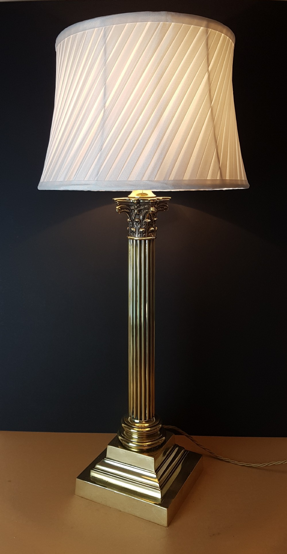 C1910 Very Large Brass Corinthian Column Table Lamp Rewired And Pat Rewiring Antique Floor Lamps Tested