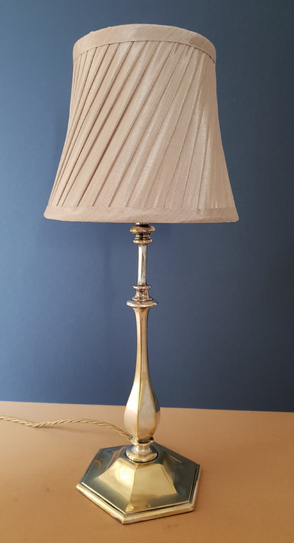 distressed silver plated brass table lamp rewired and pat tested