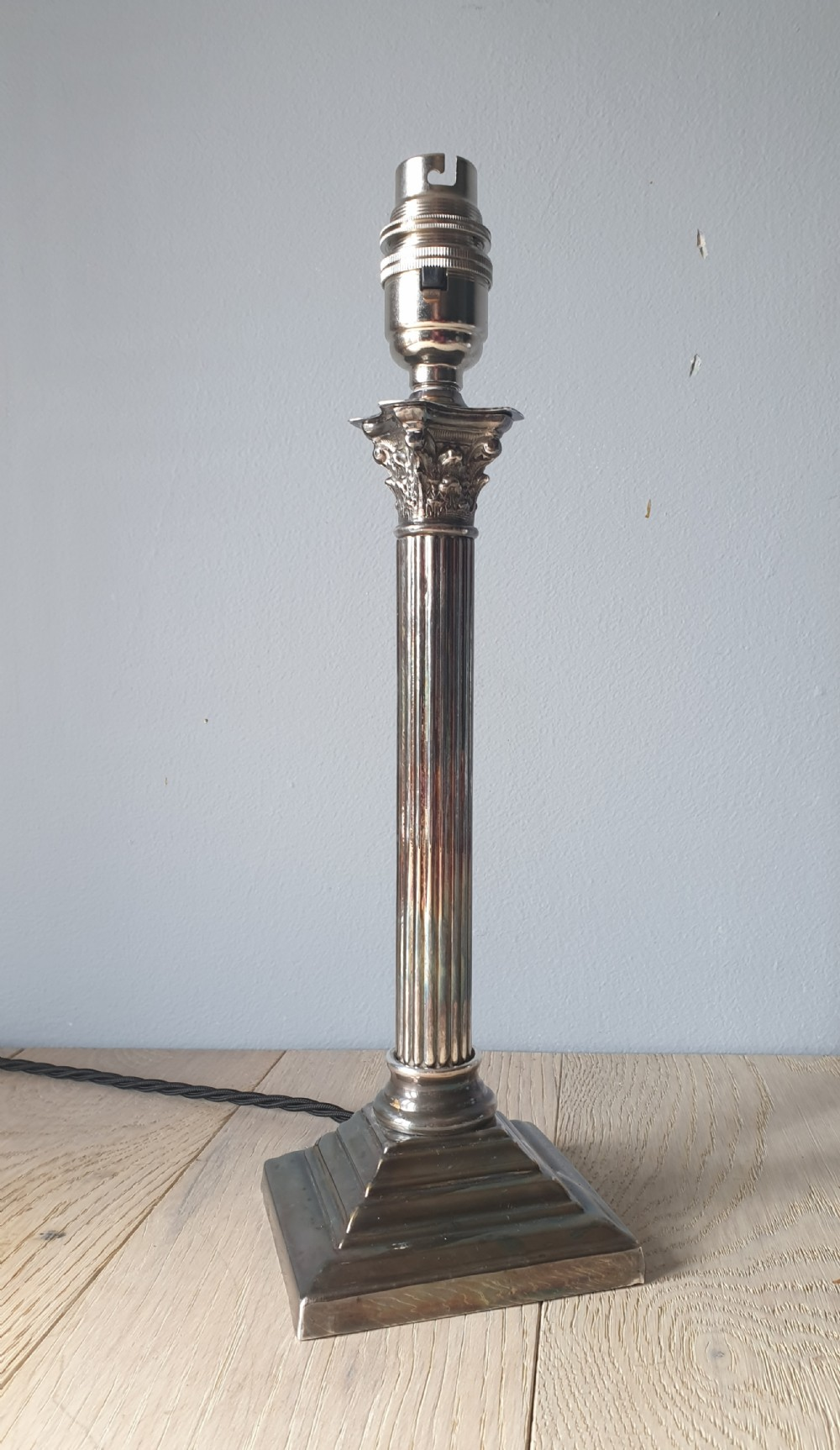 small nickel plated corinthian column table lamp rewired and pat tested
