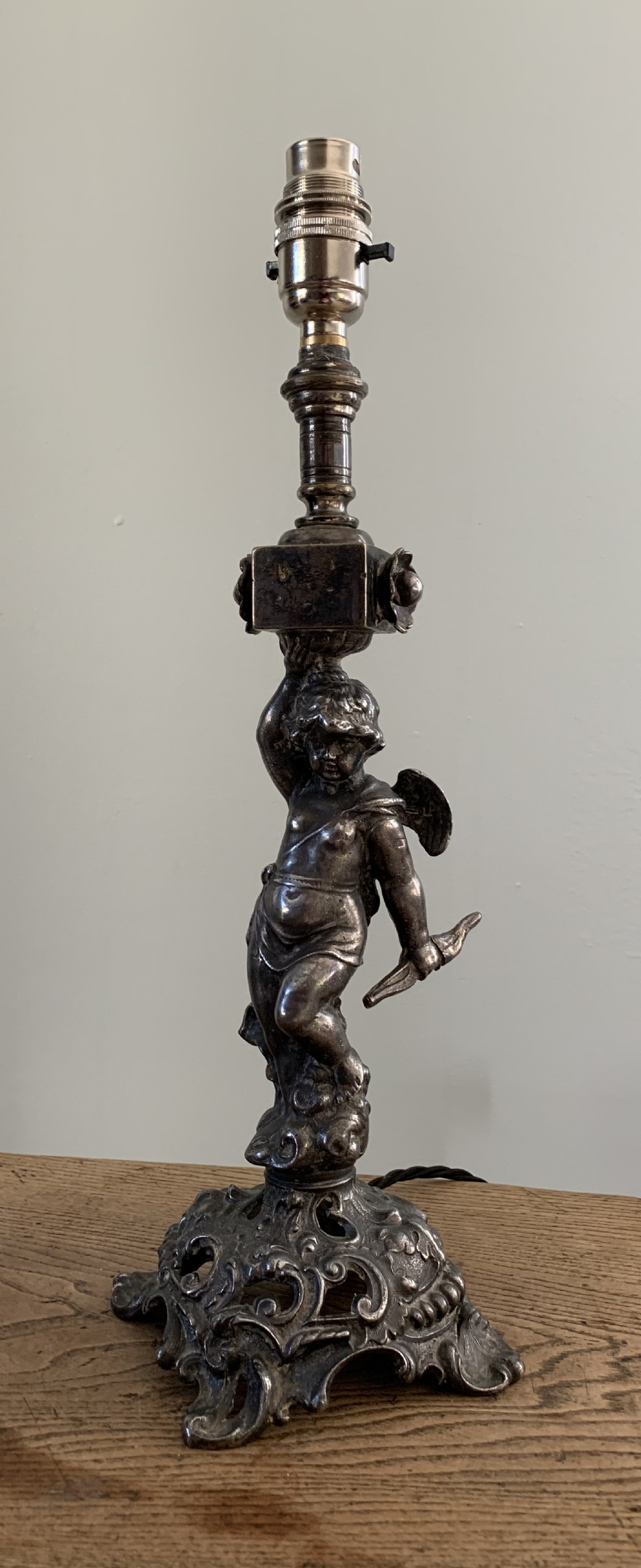 french distressed silver pewter plated brass cherub table lamp rewired and pat tested