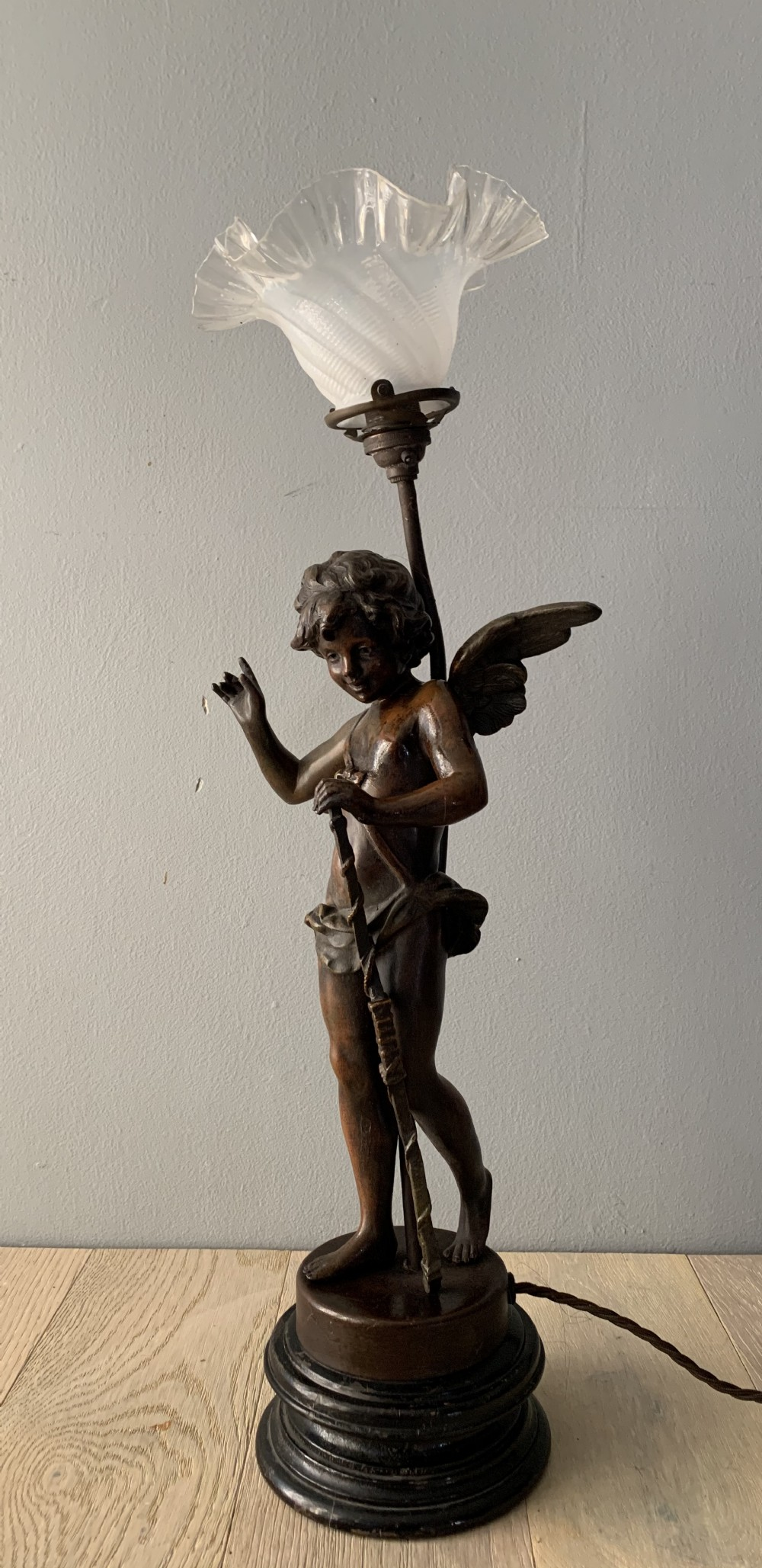 Spelter Cherub Table Lamp Rewired And Pat Tested 674602 Sellingantiques Co Uk