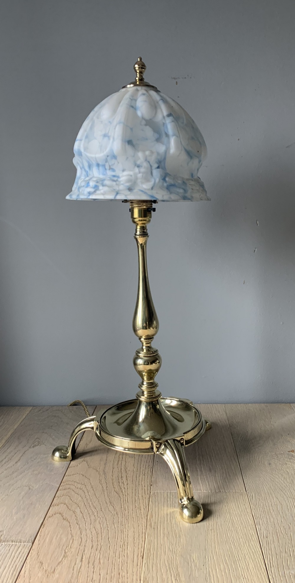 large edwardian brass table lamp with ceramic shade rewired and pat tested