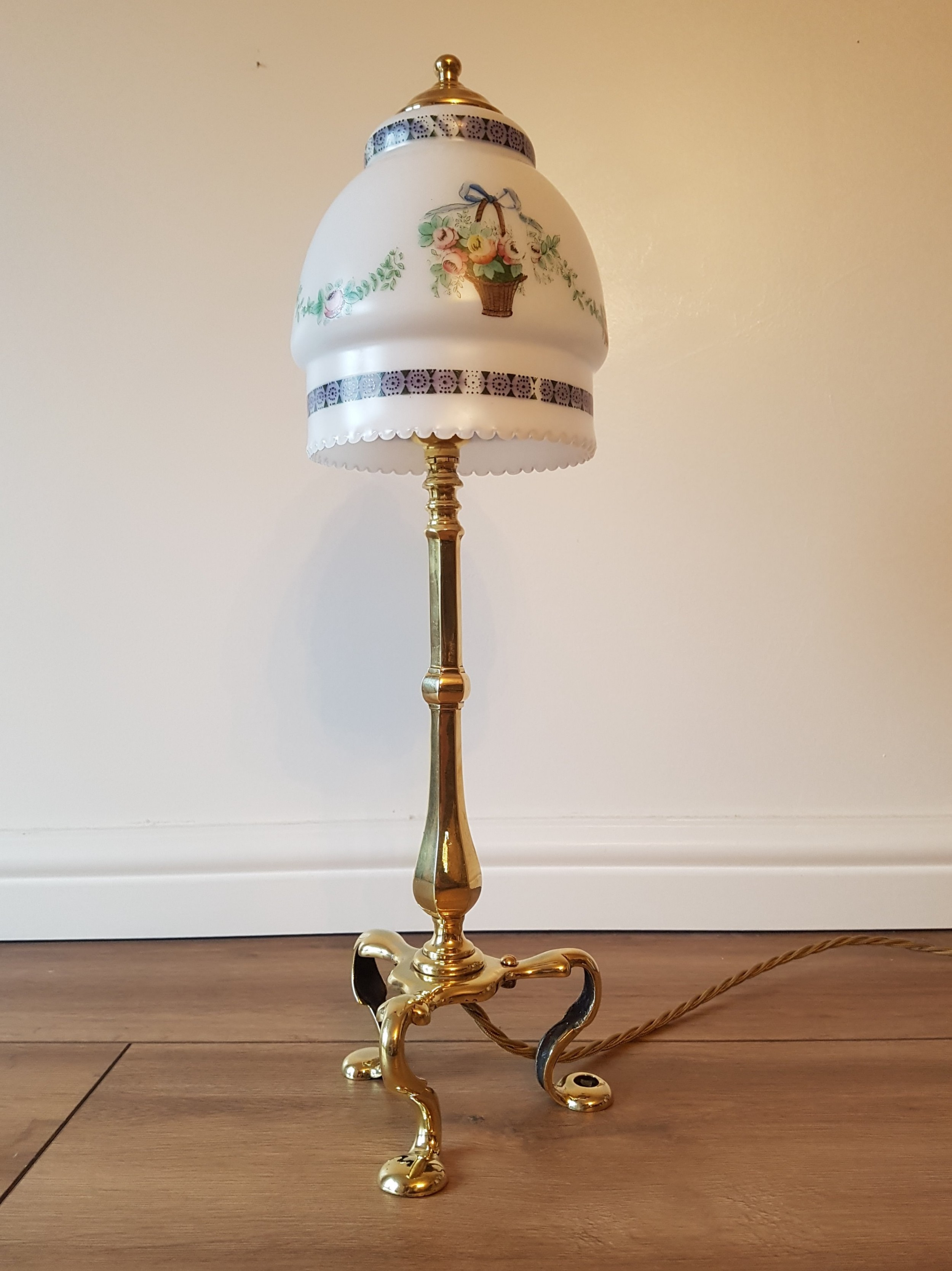 c1910 brass pullman table lamp 1 of a near pair rewired