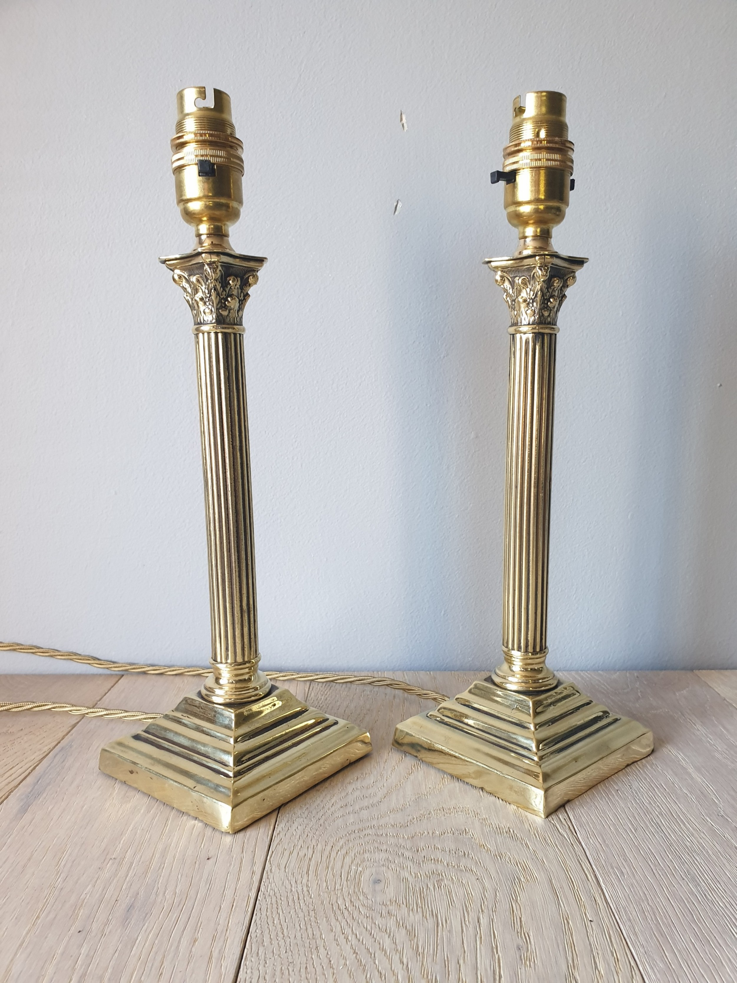 c1910 pair of small corinthian column brass table lamps rewired and pat tested