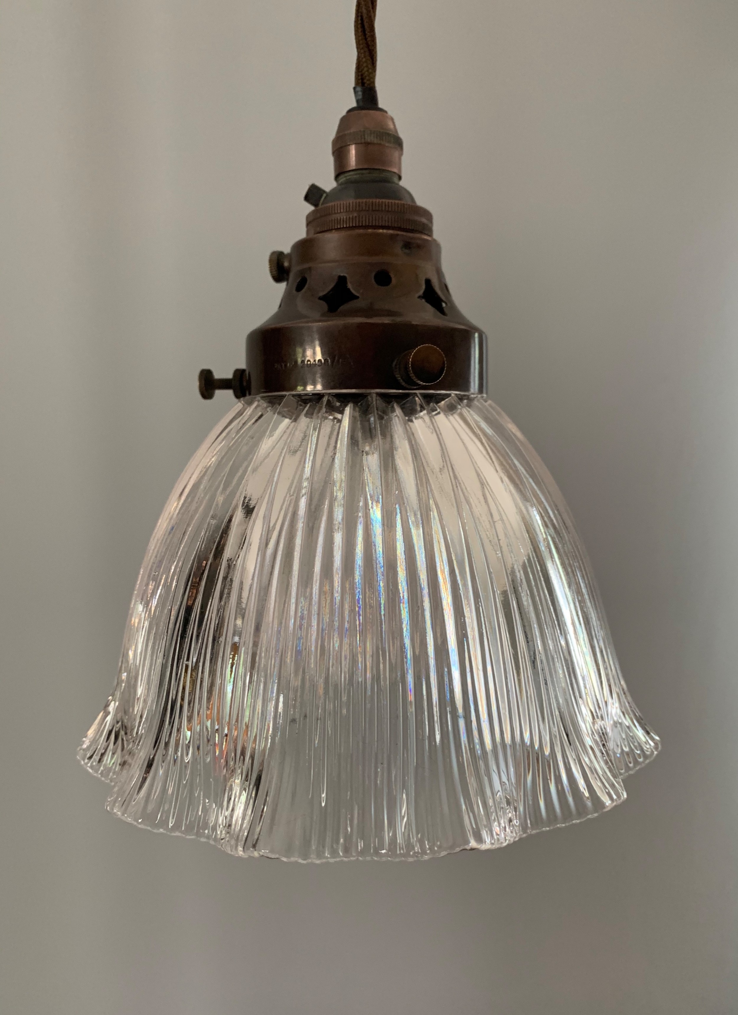 c1910 small holophane ceiling light rewired