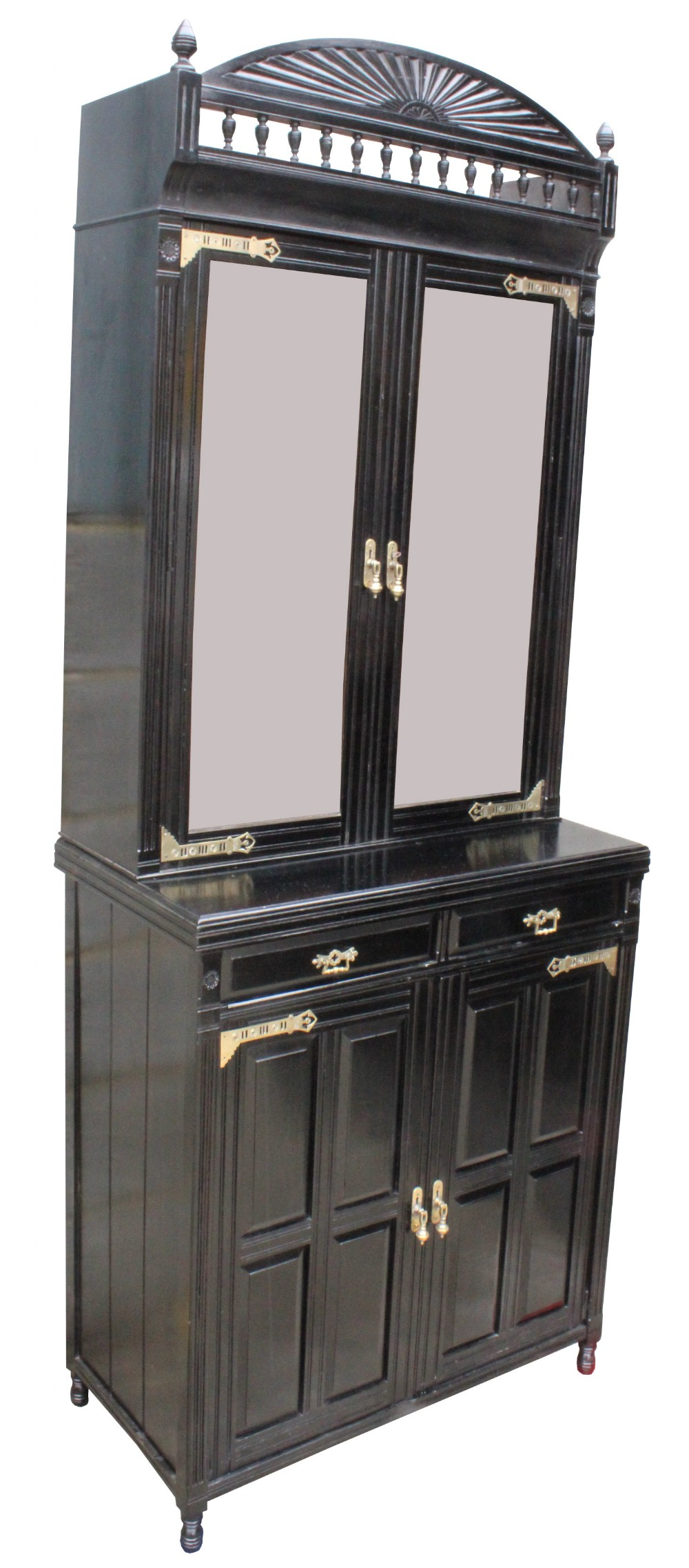 a lovely quality victorian ebonised two door bookcase