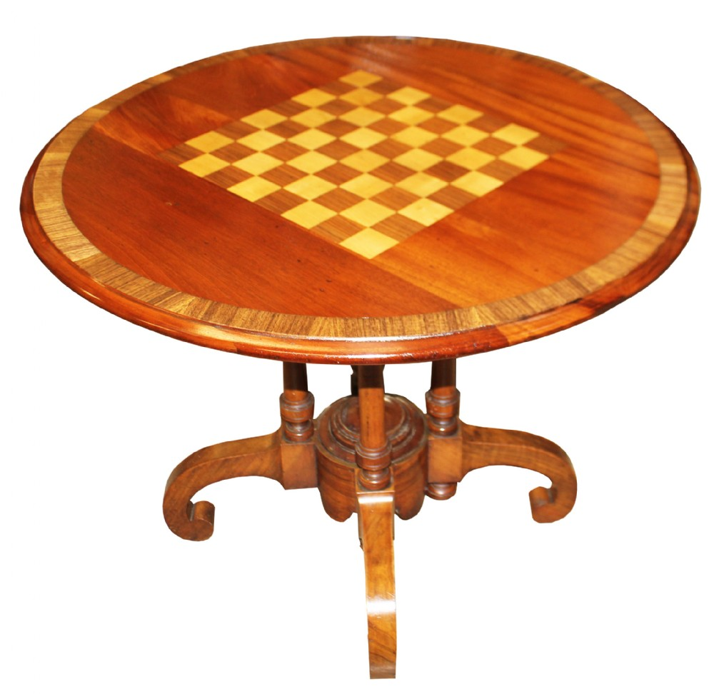 a wonderful quality victorian walnut chess top table